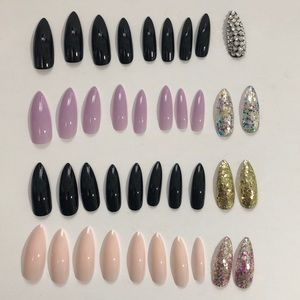 Other - Stiletto extra long glossy nails lot of 4 sets
